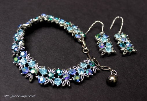 Antique Necklace Re-imagined into a Bracelet and Earrings-PERFECT FOR PROM